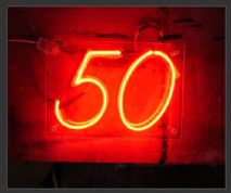 50 neon sign